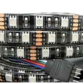 Black PCB 5M 300 LEDs Waterproof RGB 5050 DC 12V LED Strip Light