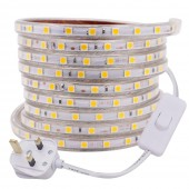 220V SMD 5050 60LEDs/m LED Strip Waterproof Flexible Light With Power Switch Plug